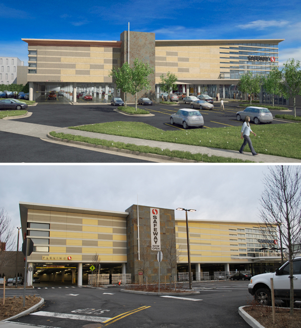 Southeast elevation rendering (above) and at completion (below).