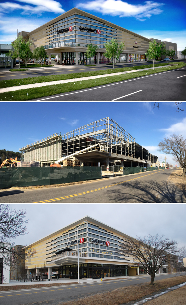 Safeway Lifestyle Store Alexandria proposed rendering (top), in construction (middle), and completed (below).