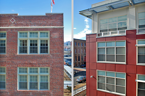 Exterior details of the historic Margaret Murray Washington School (left) and the building addition (right).