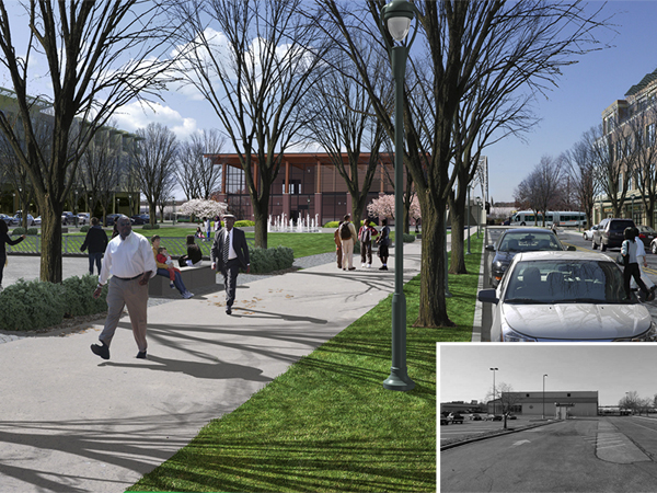Creating a new 'central place' for the area at the Woodyard East Station, this area plan proposes a new civic green and mixed-use community on the existing large parking lot of a strip retail center.
