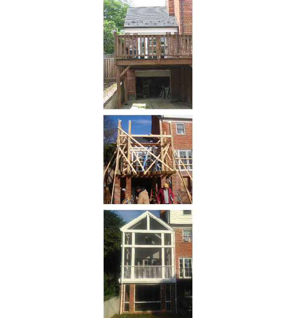 (1.) Existing Rear Deck (2.) Rear addition framed (3.) Completed rear addition