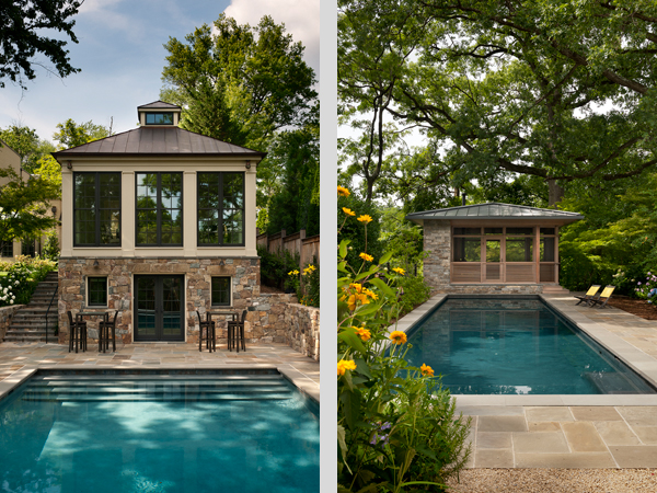 Two of the featured pools, Moorland Lantern and the Treehouse.